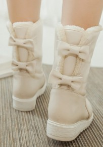 Beige Round Toe Bow Fashion Mid-Calf Boots