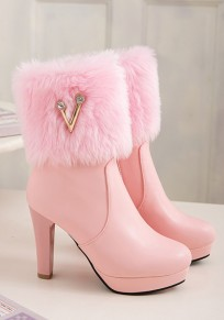 Bottes bout rond trapu strass cheville rose
