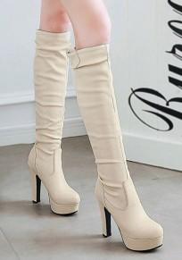 Botas A la rodilla punta redonda fornida beige