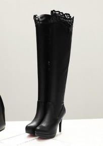 Black Round Toe Stiletto Lace Stitching Fashion Over-The-Knee Boots