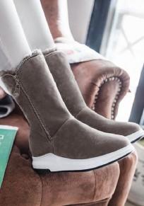 Grey Round Toe Flat Zipper Casual Mid-Calf Boots