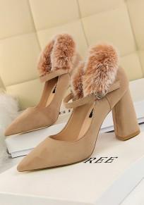 Zapatos punta estrecha forrada de piel sintética de tacón alto de color caqui