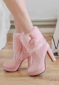 Pink Round Toe Chunky Rhinestone Faux Fur Patchwork Fashion Ankle Boots