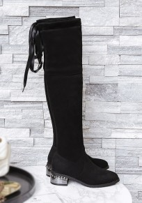 Black Round Toe Chunky Suede Fashion Over-The-Knee Boots
