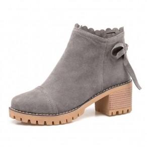 Graue runde Zehe klobig Mode Knöchel Boots