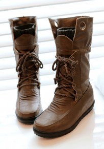 Army Green Round Toe Flat Lace-up Fashion Mid-Calf Boots
