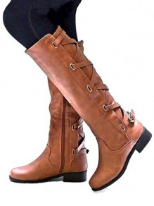 Brown Round Toe Chunky Buckle Fashion Boho Mid-Calf Boots