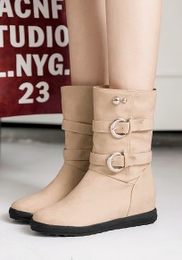 Beige Round Toe Flat Buckle Casual Mid-Calf Boots