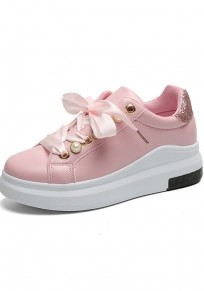 Chaussures bout rond mode perle plate cheville rose