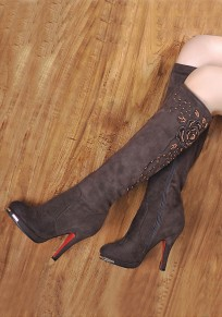 Coffee Round Toe Stiletto Embroidery Fashion Knee-High Boots