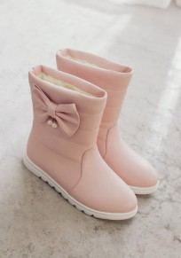 Pink Round Toe Flat Pearl Bow Casual Mid-Calf Boots