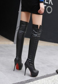 Black Round Toe Stiletto Cross Strap Fashion Over-The-Knee Boots