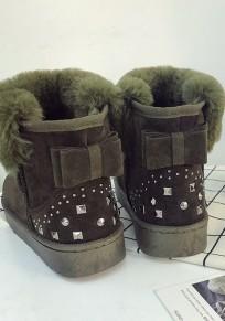 Bottes de neige strass noeud papillon fourrure hiver doux femme chaussures vert armée