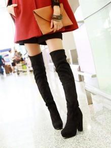Schwarz Runde Zehe Blockabsatz Elegante Overknees Stiefel Damen Boots