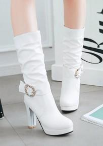 White Round Toe Chunky Rhinestone Fashion Mid-Calf Boots