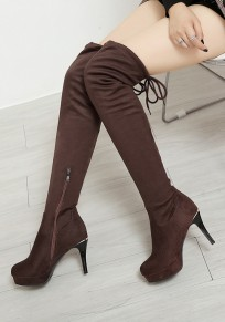 Brown Round Toe Stiletto Zipper Fashion Over-The-Knee Boots