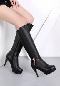 Black Round Toe Stiletto Rhinestone Fashion Knee-High Boots