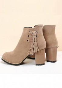 Apricot Round Toe Chunky Tassel Fashion Ankle Boots