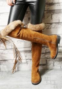 Bottes plat bout rond fausse fourrure élégant décontracté femme cuissarde brun