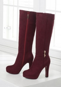 Wine Red Round Toe Chunky Zipper Fashion Knee-High Boots