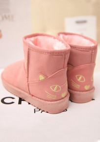Pink Round Toe Flat Cat Print Cute Ankle Boots