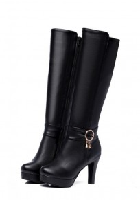 Bottes bout rond trapu strass occasionnel mi-bas noir
