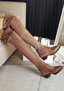 Apricot Point Toe Chunky Fashion Over-The-Knee Boots