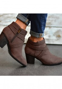 Brown Round Toe Chunky Zipper Fashion Ankle Boots