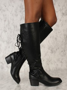 Black Round Toe Chunky Lace-up Fashion Knee-High Boots