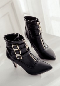 Black Point Toe Stiletto Zipper Buckle Fashion Ankle Boots