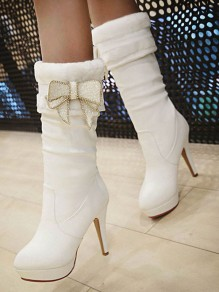 White Round Toe Stiletto Bow Fashion Mid-Calf Boots