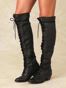 Black Round Toe Chunky Cross Strap Lace Up Casual Over-The-Knee Boho Boots