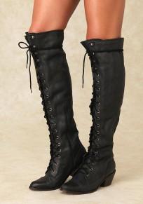 Bottes bout rond avec à lacets élégant femme cuissarde noir