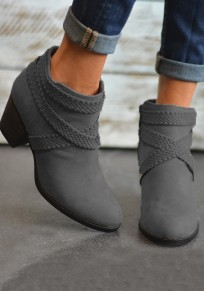 Grey Round Toe Chunky Zipper Fashion Ankle Boots