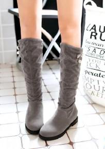 Grauer runder zehe klumpiger Strass-beiläufige Mittel-Waden-Stiefel