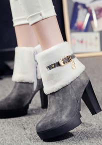 Grey Round Toe Chunky Buckle Fashion Ankle Boots