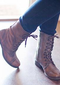 Botines punta redonda con cordones de moda marrón