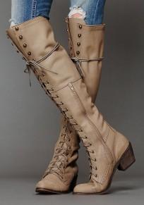 Bottes simili cuir talon carré avec à lacets mode femme cuissarde khaki