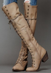 Khaki Round Toe Chunky Lace-up Fashion Boho Knee-High Boots
