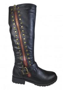 Black Round Toe Chunky Rivet Fashion Mid-Calf Boots