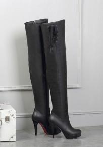 Schwarze runde Zehe Stilett Reißverschluss Mode Over-The-Knee Stiefel