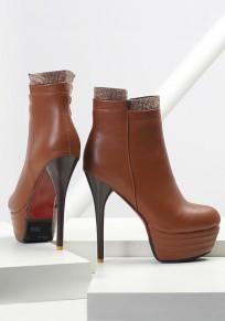 Braun runde Zehe Stilett Reißverschluss Mode Stiefeletten