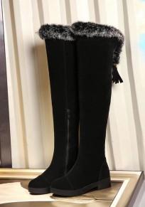 Bottes bout rond plat fausse fourrure à lacets hiver mode femme cuissarde noir