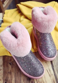 Pink Round Toe Flat Sequin Bow Fashion Ankle Boots