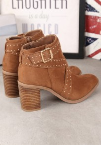 Camel Round Toe Chunky Rivet Fashion Ankle Boots