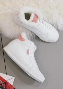 Chaussures bout rond lacets plats décontracté cheville blanc