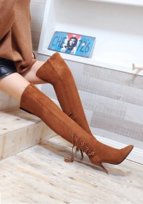 Brown Point Toe Stiletto Cross Strap Fashion Over-The-Knee Boots