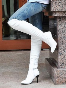 White Round Toe Zipper Stiletto Plus Size Fashion Knee-High Boots