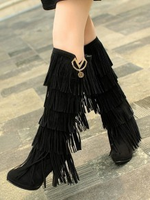 Black Round Toe Chunky Tassel Fashion Knee-High Boots