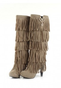 Beige Round Toe Chunky Tassel Fashion Knee-High Boots